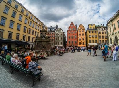 La piccola piazza di Stortoget, dove si trova il Nobelmuseum