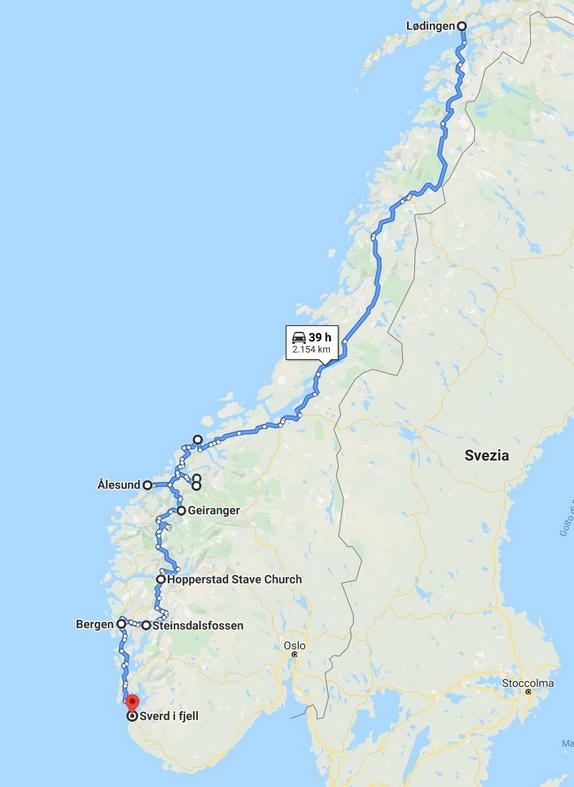 percorso continente norvegia